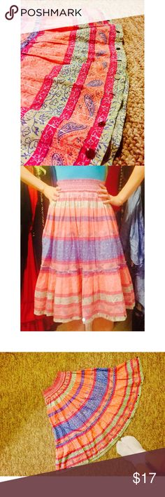 Beautiful, Ornate, Colorful Knee Length Skirt ✨ Beautiful and colorful skirt. This skirt is lightweight and hippyish :) I only wore it one time at a music festival ✌🏼️ Gorgeous colors, also this skirt is very small but actually can stretch to probably a size medium. Skirts Midi