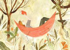 Very summer reading / Lectura muy estival (ilustración de Katie Harnett)
