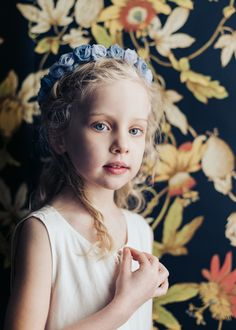 Flower girl dusty blue flower crown. Photo/Molly Magnuson. Floral Wreath by Kerry Ann Stokes