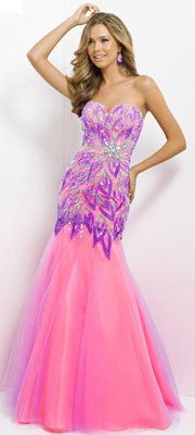 (PRE-ORDER) Blush 2014 Prom Dresses - Lilac & Hot Pink Strapless Embroidered Long Prom Gown