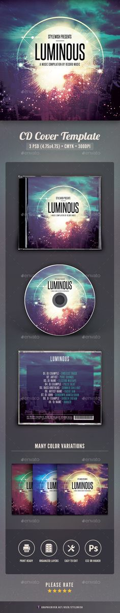 Luminous CD Cover Artwork Template PSD. Download here: http://graphicriver.net/item/luminous-cd-cover-artwork/15935392?ref=ksioks
