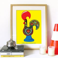 Portuguese Rooster Legend Poster Art in Yellow