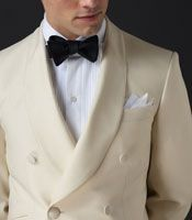 white double-breasted dinner jacket is always in style