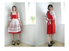 Vintage Dirndl Dress / Short Full Dirndl with blouse and Apron Embroidered /German Folk Traditional / Oktoberfest/ Red & White/ Medium Size