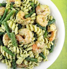 Shrimp, String Beans & Pasta w/ Pesto Sauce