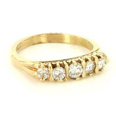 Vintage 14 Karat Yellow Gold Diamond Anniversary Stack Band Ring Fine Jewelry