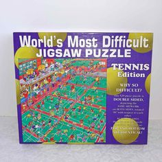 Worlds Most Difficult Jigsaw Puzzle Tennis Edition / Two-sided Jigsaw Puzzle / Tennis / Sports / Vintage Jigsaw Puzzle / Puzzle Difficult Jigsaw Puzzles, Tennis, Buffalo Games, Sell On Etsy, Pista, Vintage, Respect, Artwork, Sports