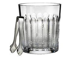 Handgefertigter Kristallglas-Eiskübel Mixology mit Zange, H 32 cm