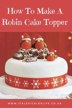 Looking for a fun and festive cake topper for your Christmas bakes this year? Tr… Looking for a fun and festive cake topper for your Christmas bakes this year? Try a rockin' robin cake topper made from ready to roll icing. Christmas Themed Cake, Christmas Cake Designs, Christmas Cake Topper, Christmas Cake Decorations, Christmas Cupcakes, Holiday Cakes, Christmas Goodies, Christmas Treats, Xmas Cakes