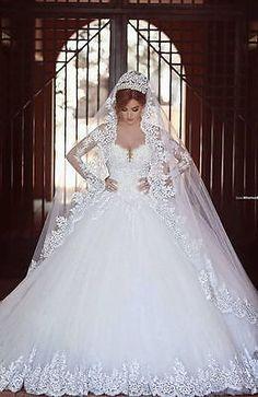 White-Ivory-Princess-Empire-Lace-Wedding-Dress-Bridal-Gown-Ball-Prom-Custom-Size