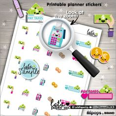Tax Stickers, Printable Planner Stickers, Taxes, Pay Taxes, Erin Condren, Money Stickers, Kawaii Stickers, Planner Accessories, Reminders