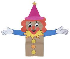 Paper Bag Clown Puppet  This guy is our craft for  Circus Stories on 6/9.
