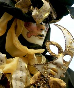 gold and clack carnival mask and mask costume