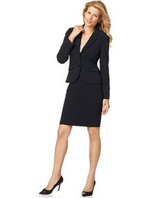 Nine West Suit, Three-Quarter-Sleeve Belted Jacket & Pencil Skirt ...