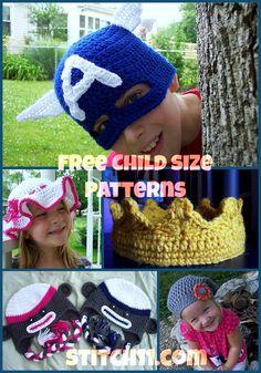 Free Child Size Crochet Patterns: slouchy hat 4 her & Captain America 4 him Crochet Kids Hats, Crochet Bebe, Knit Or Crochet, Crochet Crafts, Yarn Crafts, Crochet Clothes, Crochet Projects, Free Crochet, Knitted Hats