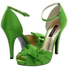 Green - Nina Electra ($100) ❤ liked on Polyvore featuring shoes, green, heels, holiday shoes, leather sole shoes, hidden platform shoes, ankle strap shoes and evening shoes