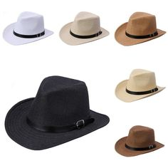 Men Fedora Jazz Hat Leather Band Summer Beach Straw Panama Cowboy Western  Sunhat. Western CowboySun HatsSummer ... 043f4194edf9