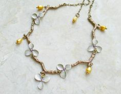 Orchid Flower Necklace Hand Painted w/ Golden Freshwater