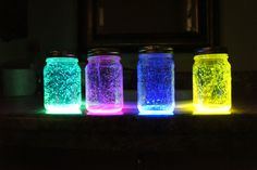 "My version of Fairies in a Jar..  Materials Needed- Mason Jar with lid, 1 glow stick, 1TBS of Diamond Dust, 3"" long by 1/2""-1"" wide piece of tulling, glue or spray adhesive....  1) I took my spray adhesive and sprayed a small amount on the lid and centered the tulling and let dry 2) I cracked and crushed as much of the glass tubing in the glow stick then cut and poured into the jar 3) Added my tablespoon of diamond dust 4) Sealed the jar and shook... The tulling helps give the floating effect"
