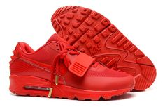 Clearance Nike Air Yeezy II 2 Sp Max 90 The Devil Series Classical Velcro  All Red West Womens Shoes Shoes New Products