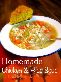 This hearty Homemade Chicken & Rice Soup reminds me of the days when I would open up a can of Campbell's Chicken and Rice Soup for a quick meal. Yes, I like Campbell's soups and still eat them on occasion, but I love homemade soup. The aroma it gives off while it is cooking is comforting in itself.