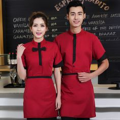 7d8955adf Hot Sell Chinese Restaurant Waiter Uniform with Apron Black/green/red Hotel  Food Service Waitress Uniform Cafe Service Work Wear