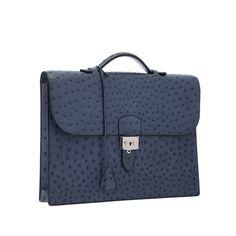 Hermes Blue Roi Ostrich Sac a Depeches Briefcase Bag with Palladium Hardware