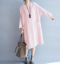 Fabrics, linen Color; light pink Size Without limiting the Shoulder Bust 138cm/ 54 Shoulder + Sleeve 52cm/ 20 Length 100cm/ 39  Have any questions please