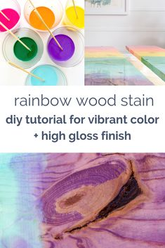 Kid's Closet Playroom Makeover: How To Stain Wood In Rainbow Colors – Rainbow Apartment Decoration, Decoration Bedroom, Diy Home Decor, Rainbow Wood, Rainbow Colors, Vibrant Colors, Craft Tutorials, Diy Projects, Sewing Projects