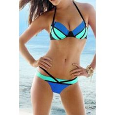 $13.98 Sexy Halter Spliced Color Block Women's Bikini Set