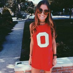 Oversized t-shirts are perfect for gameday outfits at Ohio State University!