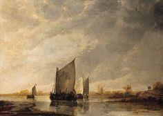 Albert Cuyp - Zeilschepen op een rivier