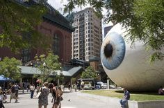 """""""Eye"""" was last seen, or seeing, in Chicago's Pritzker Park in Here's a shot of its stare down with the Windy City: article-image""""Eye"""" in Chicago (photograph by John Lodder) Dallas City, Sidewalk Art, Art Museum, Street Art, Sculptures, Horror, Explore, Eyes, Bending"""