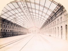1871 Berlin, Potsdamer Bahnhof, Blick längs der Perronhalle, Hermann Rückwardt Halle, Berlin, Potsdamer Platz, Louvre, Building, Travel, Viajes, Hall, Buildings