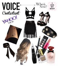 """My voice..."" by elifolcay ❤ liked on Polyvore featuring Versace, River Island, Dolce&Gabbana, MAC Cosmetics, NARS Cosmetics, Lancôme, Witchery, thevoice and YahooView"