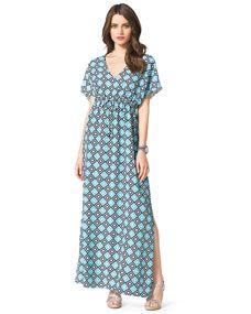 Michael Kors - Diamond-Print Short-Sleeve Maxi Dress
