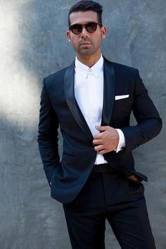 Wool silk blend black shawl collar tuxedo with classic tab collar tuxedo shirt.