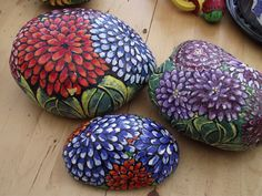 pictures of flowers painted on rocks - Google Search