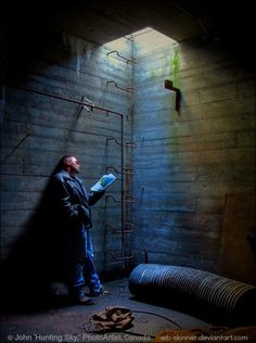 Light Reading © John 'Hunting Sky' (PhotoArtist, Thunder Bay, Ontario, Canada) aka wb-skinner via  deviantart. Abandoned Industrial Site. Underground. Man Reading, Abandoned Magazines