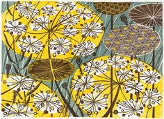 """Seedheads"" linocut by Angie Lewin. http://www.angielewin.co.uk/ Tags: Linocut, Cut, Print, Linoleum, Lino, Carving, Block, Woodcut, Helen Elstone,  Lucienne Day, Flowers, Seeds, Pattern, Leaves."