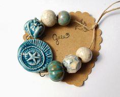 Gaea Ceramic Bead and Art Studio Blog: New Shining Star handmade ceramic link and bead sets. gaea.cc