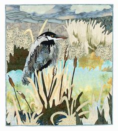 Art Quilt Wall Hanging Great Blue Heron by KDOriginalsOregon, $1000.00 The quilted wall hanging was made by award winning quilt artitst Karen Donobedian. This quilt was inspired from viewing Great Blue Heron's fishing on the Alsea River Bay in Oregon.  The quilt is handmade using cotton fabrics and batting. The appiqued pieces are hand turned and machine appliqued. The free motion quilting was done by the artist herself using cotton and rayon threads.