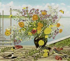 Blumenstrauss in schwarzer Vase mit zwei Vögeln by Adolf Dietrich
