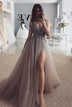 Fashion Tips 2018 Sexy Beaded Long Evening Dress Graduation Gown Customized School Dance.Fashion Tips 2018 Sexy Beaded Long Evening Dress Graduation Gown Customized School Dance Grey Prom Dress, Pretty Prom Dresses, Ball Dresses, Elegant Dresses, Satin Dresses, Lace Dress, Dresses For Prom, Long Dresses, Sexy Dresses