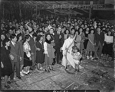 These Japanese-Americans at an internment camp in Utah celebrating New Year's in 1944.