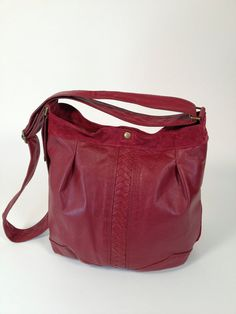 Dark Red Leather and Suede Cross Body by refindoriginals on Etsy, $289.00