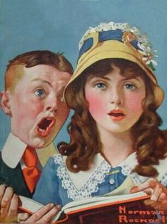 iCanvas Boy and Girl Singing Gallery Wrapped Canvas Art Print by Norman Rockwell Norman Rockwell Prints, Norman Rockwell Paintings, Caricatures, Illustrations, Illustration Art, American Artists, Canvas Art Prints, Vintage Art, Portraits