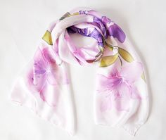 Hand Painted Long Silk Scarf with lily and by KatarzynaKaMaART, $67.00