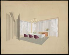 Jean ROYERE dinning room project with fireplace, middle of the century, gouache, Les Arts Décoratifs Museum, Paris. Vine Wall, Types Of Furniture, Ceiling Lights, Gouache, Middle, Dining Room, Museum, Interiors, French