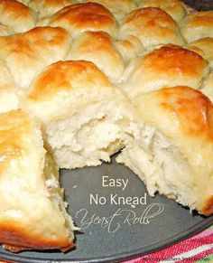 These Easy No Knead Yeast Rolls made a no knead believer out of me. Easy to make… These Easy No Knead Yeast Rolls have made me a believing No Knead. Easy to prepare and to warm with butter. Bread Bun, Easy Bread, No Knead Bread, No Yeast Bread, No Rise Bread, Yeast Bread Recipes, Bread Baking, Baking Recipes, Bread And Pastries